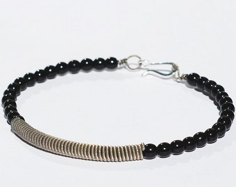 Guitar String Bracelet- Upcycled Silver and Black Beaded Jewelry, Guitar String Jewelry, Music Jewelry, Guitar Player Gift