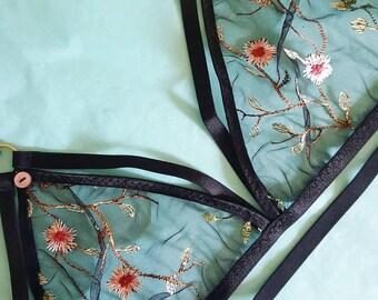 Floral Nursing Bralette. Maternity lace breastfeeding bra. Handmade custom lingerie.