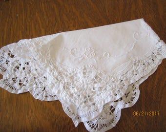 Vintage White Battenburg Rectangle Doily