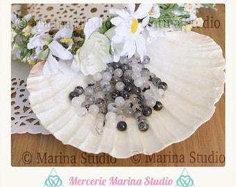 10 natural 6mm tourmalated quartz beads - bead 6mm round