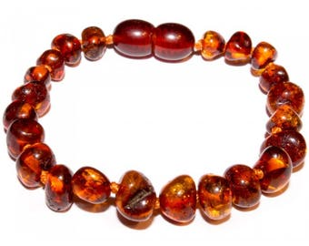 Genuine Baltic Amber Baby Teething Bracelet Cognac