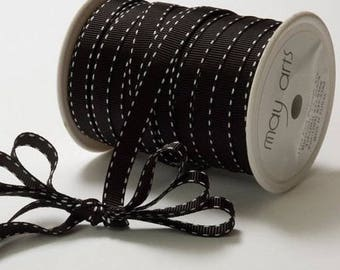 Grosgrain Stitched Edge Black and White Ribbon, 3/8 Inch, May Arts Ribbon, Grosgrain Ribbon, Black and White, Gift Wrapping Ribbon, 5 Yards