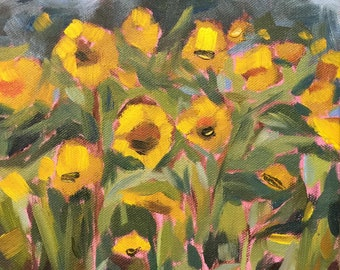 "Contemporary Sunflowers, Plein Air 8"" x 10"" original oil painting study by Laurie Rubinetti, yellow, green, blue, landscape, summer,"