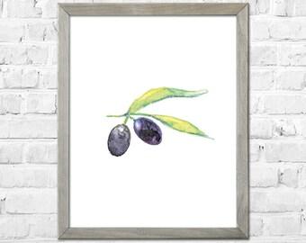 Olive Watercolor Print, Kitchen Art, Fruit Art Print, Botanical Watercolor Painting, Black Olive, Kitchen Wall Decor