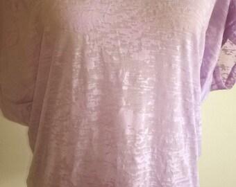 Lilac distressed tee shirt/ boho/ casual/ lightweight