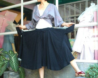 Let's Dance ... Hand Dyed Black Double Gauze Cotton Full Circle Pants