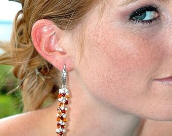 Red Garnet Dangle Earrings / Orange Quartz Teardrops / Sterling Silver / Multicolor Earrings / Modern / Wire Wrapped / Gifts For Her / OOAK