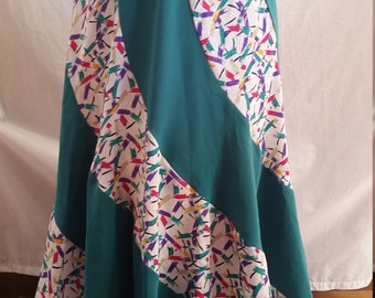 Vintage nineties colourful abstract polyester spiral skirt size 10