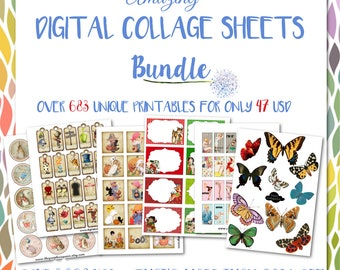 Digital Collage Sheet Bundle Images for Jewelry card Making Scrapbooking Decoupage Bottlecaps Paper Craft Coaster Clip Art Instant Download