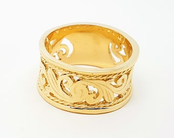Large yellow gold filgree ring - 9ct yellow gold - 375