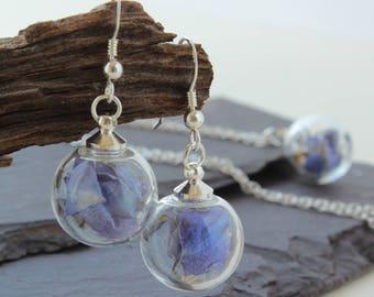 Mini Light Blue real flower earrings, Sterling Silver Drop Earrings