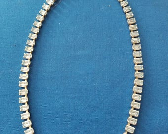 vintage silver tone rhinestone and baguette necklace
