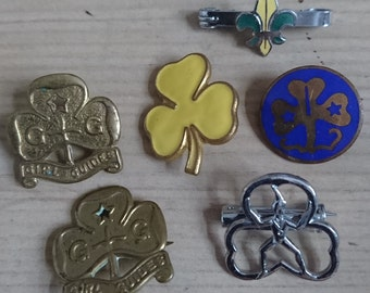Collection of six Brownie, girl guide and Scout badges