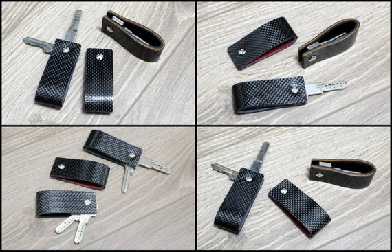 Carbon Fiber & Leather Key Holder - Reversible Colors - Slim Keychain Minimalist Key Case Holder Gift for Men's and Womens  Only 12 grams