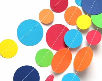 Multi color circle paper garland (20 feet) - READY TO SHIP