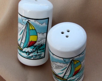 Vintage Nautical  Sail Boat Salt and Pepper Shakers/ Antigua