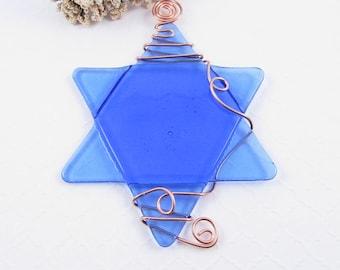 Fused Glass Star of David Suncatcher - Light Blue Glass Star of David Ornament - Hanukkah Star - Wire Wrapped Star - Chanukah Decoration