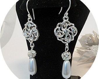 Ivory Pearl, Rhinestone Earrings, Bridal Accessories, Dressy Earrings, Pearl Dangles, Bridal Jewelry, Wedding Earrings, Bridal Earrings