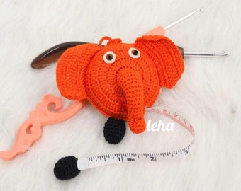 Crocheted Animal tape measure-Elephant
