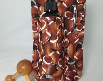 massage therapy single lotion bottle LEFT hip holster, football print, black belt/buckle