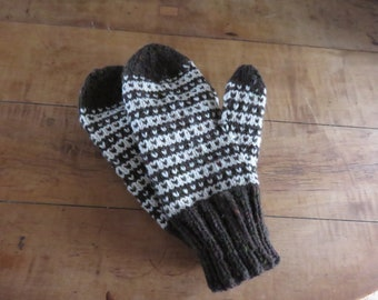Hand knit Norwegian mittens in Ancient Fern and natural.