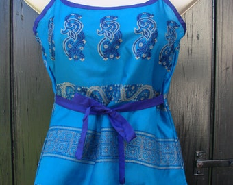 Blue Sari Summer Cami Bust 33 inch XS  Music festival Turquoise Boho Tank top   Gypsy blue silk camisole for Ibiza   OOAK Festival top