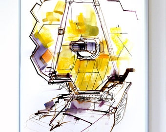 11 x 14 inch James Webb Space Telescope at Goddard Space Center, Science Poster Art Print, Original Illustration - Stellar Science Series™