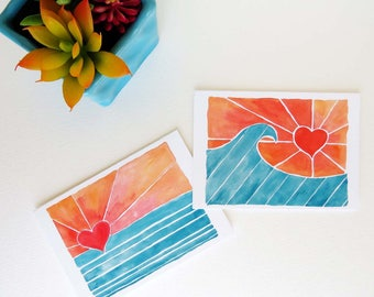 "Surf Art, Bright Wave Art Notecards - Set of Eight (3 1/2"" X 5"")"