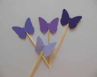 Butterfly Cupcake Toppers - Purple Ombre - Bridal Shower Decorations - Baby Shower Decorations - Birthday Decorations - Set of 12