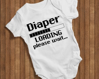 Diaper loading please wait.. Funny Baby Humor Hip Baby bodysuit Baby One Piece,Burp Clothes Gift Birthday Present baby outfit cute baby 0452