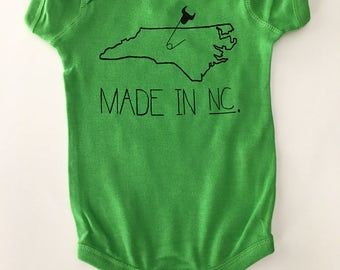 Made in NC, Size: 6 months, North Carolina Baby one-piece, romper - Green with Black print, screen printed
