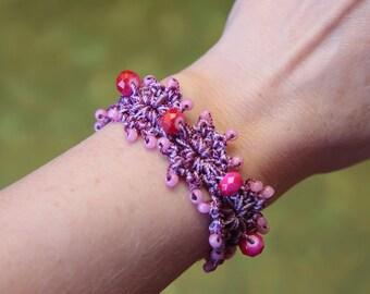 Beaded Bracelet Patterns and Tutorials, Bead Jewelry, DIY Bracelet, Crochet with Beads, Flower Bracelet Pattern, Seed Bead Bracelet (68)
