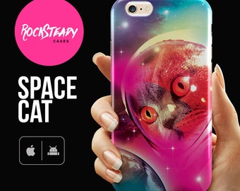 Funny Cat Phone case, Space iphone 6s case, 8, 7 Plus, X, SE, 5s, 5C case, samsung s5, s6, s7, S8 cat case, iPhone 6 cell phone cover gift