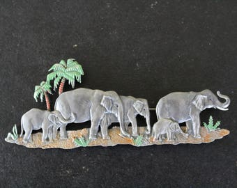 Hand Painted Pewter Elephants Brooch Pin by Jonette Jewelry circa 1986