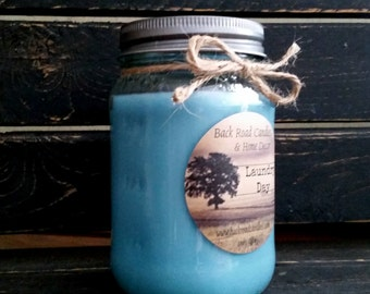 Laundry Day Scented Mason Jar Candle // Soy Blend Wax // 16 oz.