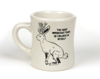 Jackalope: Imaginary Creatures - Ceramic Coffee Mug - Sturdy Vintage Diner Mug - Pop Culture Reference