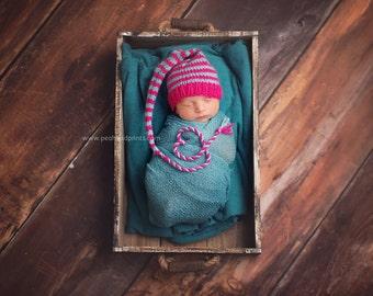 Newborn Girl Knit HaT BaBY PHoTO PRoP Hot Pink Aqua STRiPE Long Tail Stocking Cap CHooSE CoLOR Elf Pixie Beanie Coming Home Munchkin Toque