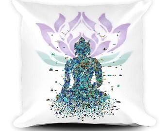 Buddha Pillow, Meditation Decor, Lotus Pillow, Mindful Decor, Zen Decor, Peaceful Decor, Energy Pillow, Energy Decor, Yoga Pillow, 18x18inch