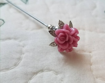 Hat Pin Victorian Antique Inspired. Mauve Pink Flowers Roses & Filigree Silver Beads. Scarf Pins or Stick Pin. Strong DISPLAY or USE!