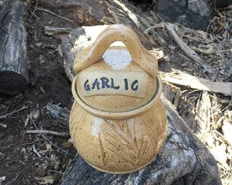 Golden Wheat Garlic Jar Handmade Pottery by Daisy Friesen