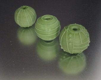 Lampwork Stringer Design Round Etched Handmade Glass Beads