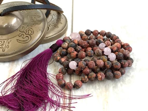 Mala For Strength, Leopard Skin Jasper Mala, Natural Stone Mala, 108 Beads, Hand Knotted, Rose Quartz Mala Necklace, Yoga Mantra Mala