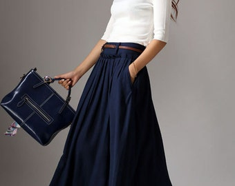 maxi skirt, linen skirt, long linen skirt, navy linen skirt, pleated skirt, full skirt, flared skirt, pocket skirt, linen womens skirt 1046