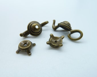 10Sets  8X21-2X7mm Antique  Bronze Filigree Tea Pot  Bead Caps c1791