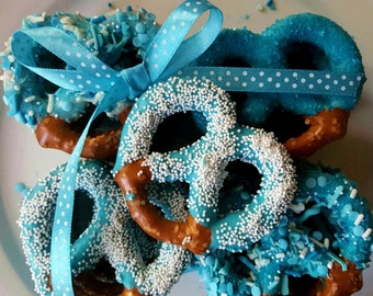 Gourmet Chocolate Covered Pretzels - Its a Boy! Baby Shower, Bridal Shower, Wedding, Party, Favor, Christening, Gift Wrap Sets available!