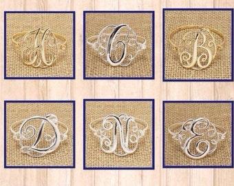 Set of 2 Large Initial Bracelets.