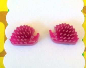 Hedgehog Laser Cut Earrings - acrylic, perspex, woodland, retro, magenta, pink
