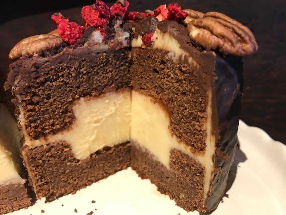 Vegan Gluten Free Mini Dark  Chocolate  Vanilla Pecan cake