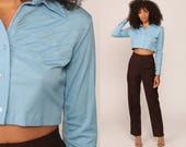 Cropped Shirt 70s Blouse Baby Blue Crop Top Bohemian Button Up Disco Top Boho Hippie 1970s Long Sleeve Seventies Small Medium