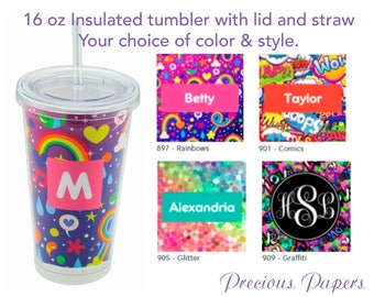 Personalized Tumblers with lid and straw - teenage girl tumbler, tween girl tumbler, teenage girl gifts, rainbow print cup, comic print cup